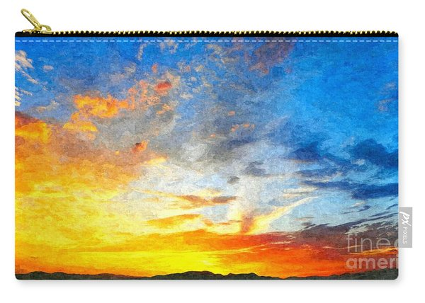 Beautiful Sunset In Landscape In Nature With Warm Sky, Digital A Carry-all Pouch