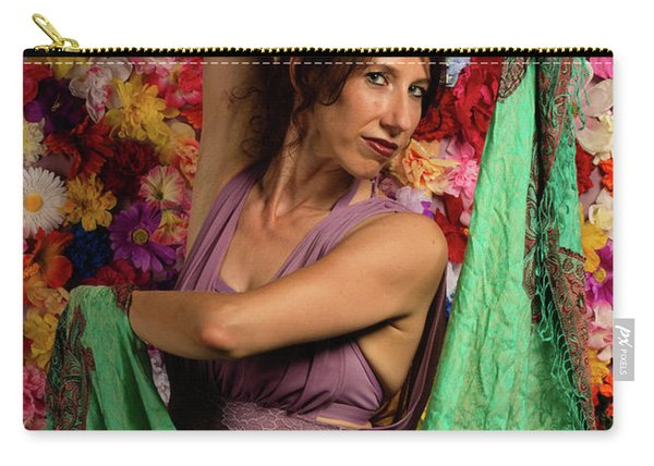 Carry-all Pouch featuring the photograph Beautiful Woman Surrounded By Flowers by Dennis Dame
