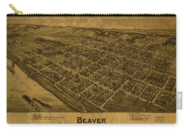 Beaver Pennsylvania Vintage City Street Map 1900 Carry-all Pouch