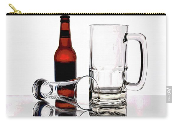 Beer Bottle And Glasses Carry-all Pouch