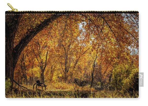 Bench With Autumn Leaves  Carry-all Pouch