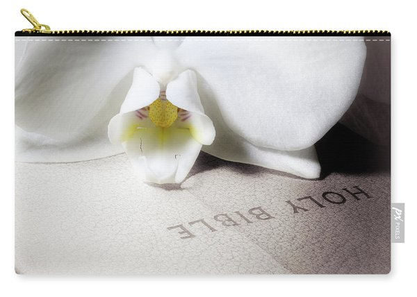 Bible With White Orchid Carry-all Pouch