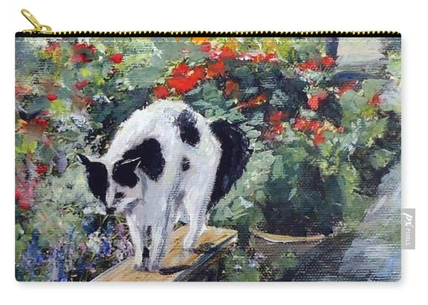 Carry-all Pouch featuring the painting Bicolour Cat In Rose Garden by Ryn Shell