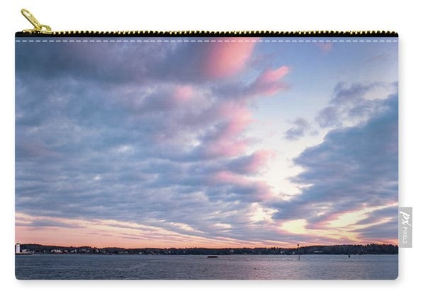 Carry-all Pouch featuring the photograph Big Sky Over Portsmouth Light. by Jeff Sinon