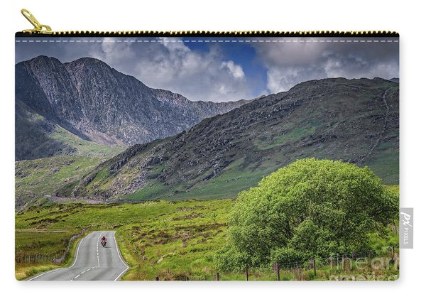Biker In Snowdonia Wales Carry-all Pouch