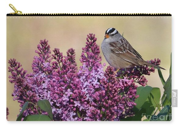 Bird On Lilac Flowers Carry-all Pouch