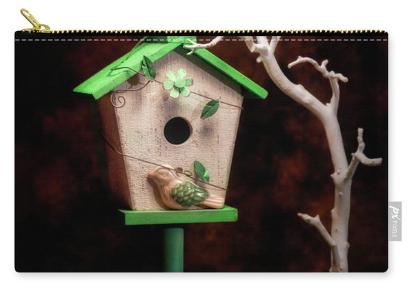 Birdhouse With Tulips Carry-all Pouch