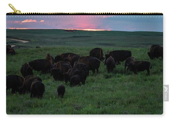 Bison At Sunset Carry-all Pouch