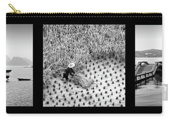 Black And White Asian Triptych Carry-all Pouch