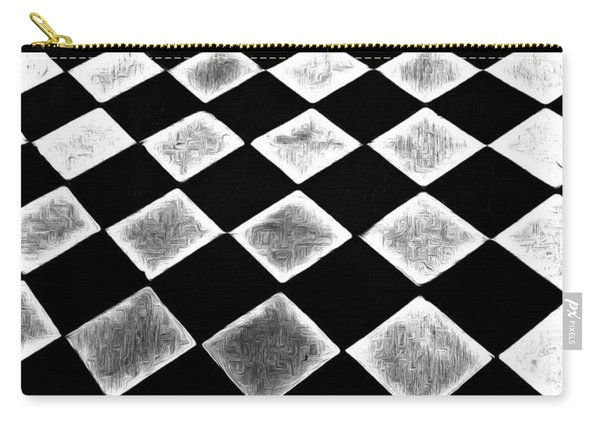 Black And White Floor Tile Carry-all Pouch