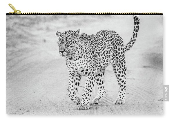 Black And White Leopard Walking On A Road Carry-all Pouch