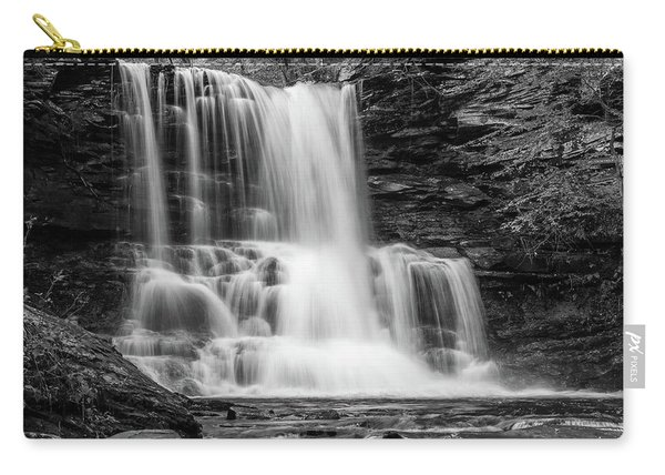 Black And White Photo Of Sheldon Reynolds Waterfalls Carry-all Pouch