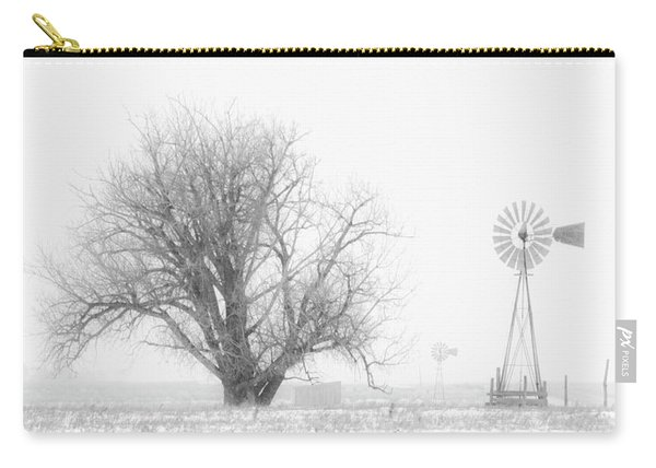Carry-all Pouch featuring the photograph Black And White Windmill 01 by Rob Graham