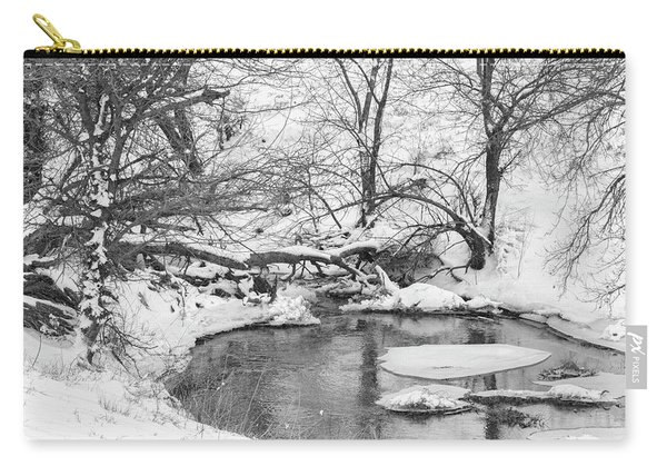 Carry-all Pouch featuring the photograph Black And White Winter 01 by Rob Graham
