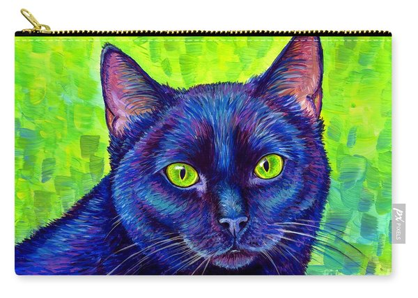Black Cat With Chartreuse Eyes Carry-all Pouch