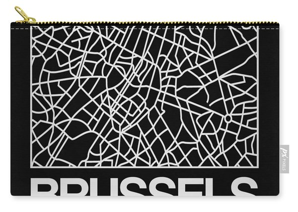 Black Map Of Brussels Carry-all Pouch