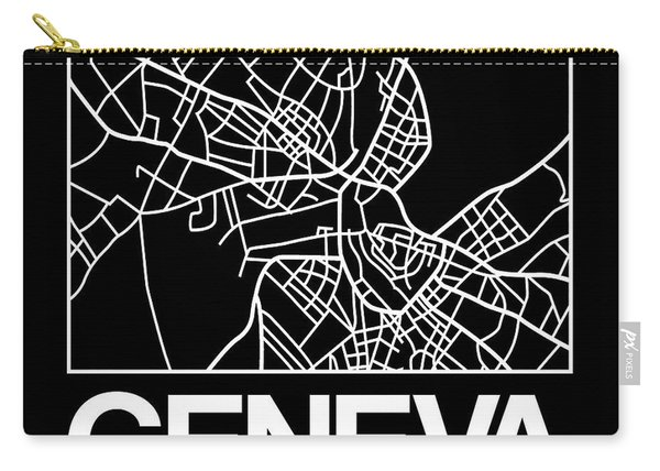 Black Map Of Geneva Carry-all Pouch