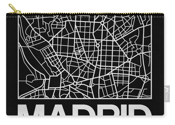 Black Map Of Madrid Carry-all Pouch