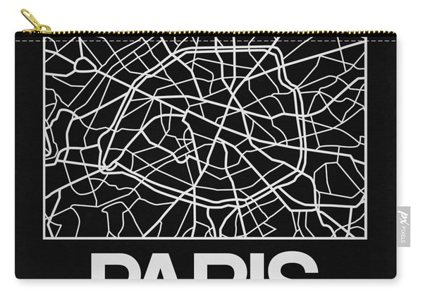 Black Map Of Paris Carry-all Pouch