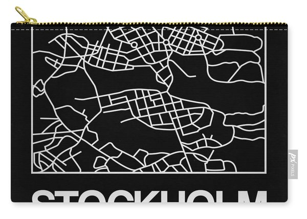 Black Map Of Stockholm Carry-all Pouch