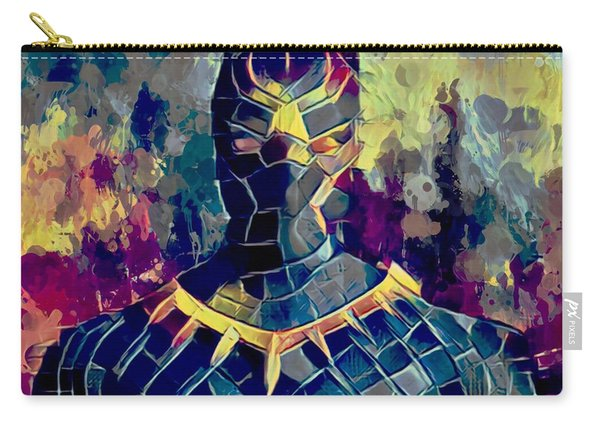 Carry-all Pouch featuring the mixed media Black Panther by Al Matra
