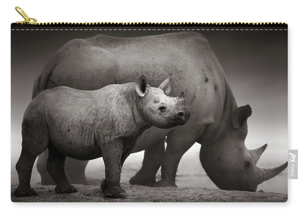 Black Rhinoceros Baby And Cow Carry-all Pouch