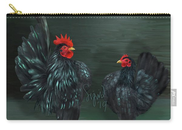 Black Serama Pair Carry-all Pouch