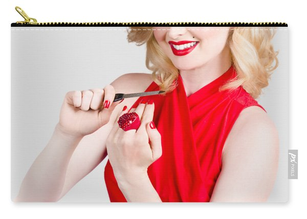 Blond Pinup Woman In Red Dress Making Manicure Carry-all Pouch