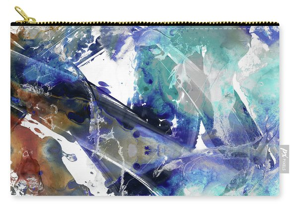 Blue And Brown Abstract Art - Rush - Sharon Cummings Carry-all Pouch