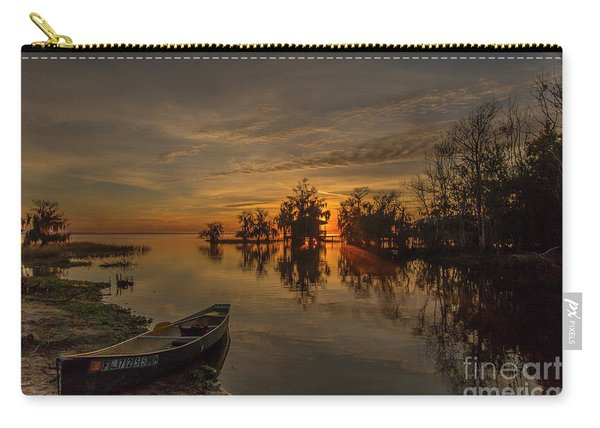Carry-all Pouch featuring the photograph Blue Cypress Canoe by Tom Claud