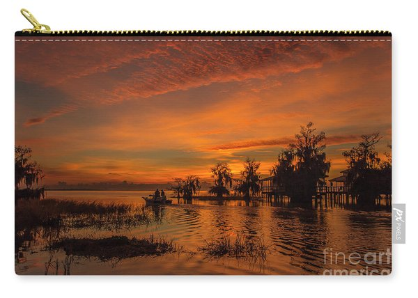 Carry-all Pouch featuring the photograph Blue Cypress Sunrise With Boat by Tom Claud