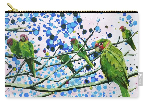 Blue Dot Parakeets Carry-all Pouch