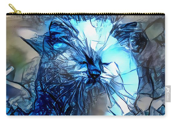Carry-all Pouch featuring the digital art Blue Himmy Cat by Don Northup
