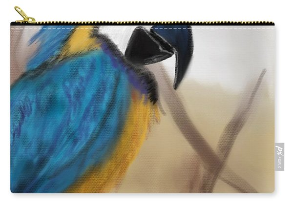Carry-all Pouch featuring the digital art Blue Parrot by Fe Jones