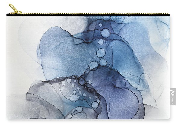 Blue Petal Dots Whispy Abstract Painting Carry-all Pouch