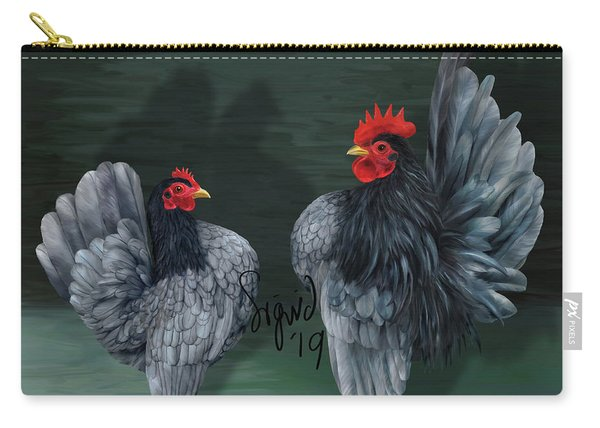 Blue Serama Pair Traditional Style Carry-all Pouch