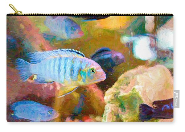 Carry-all Pouch featuring the digital art Blue Zebra Lake Malawi Van Gogh by Don Northup