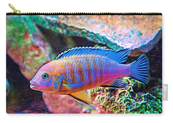 Carry-all Pouch featuring the digital art Blue Zebra Limestone Expressionism by Don Northup