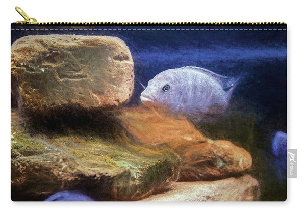 Carry-all Pouch featuring the digital art Blue Zebra Painted by Don Northup