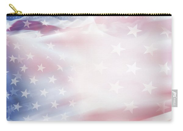 Blurred Usa Flag Carry-all Pouch