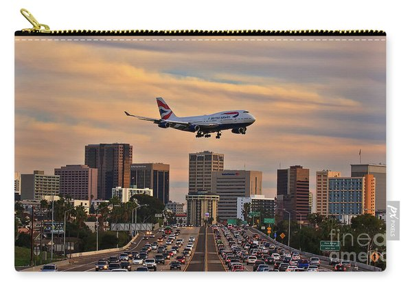 Carry-all Pouch featuring the photograph Boeing 747 Landing In San Diego by Sam Antonio Photography