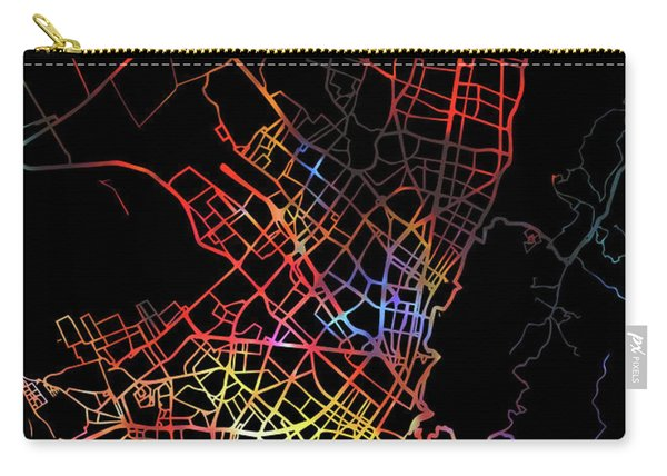 Bogota Colombia City Street Map Watercolor Dark Mode Carry-all Pouch