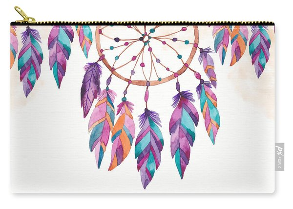 Boho Dreamcatcher - Boho Chic Ethnic Nursery Art Poster Print Carry-all Pouch