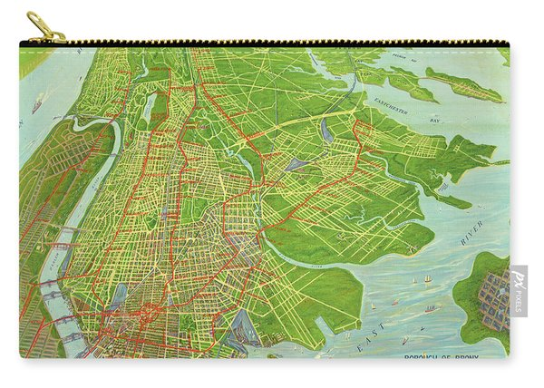 Borough Of Bronx, Birdview Map 1921 Carry-all Pouch