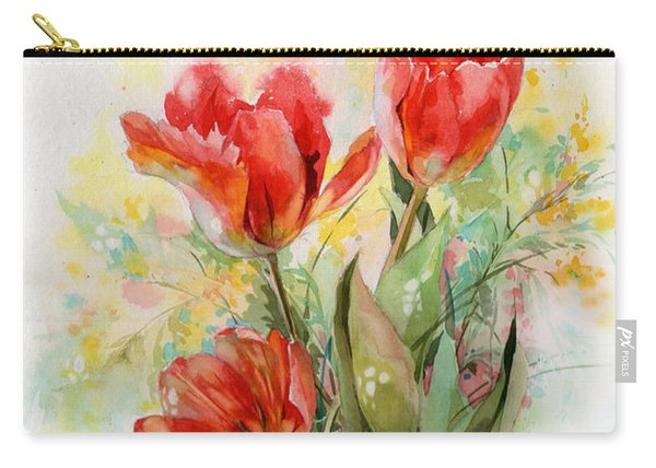Bouquet Of Red Tulips Carry-all Pouch