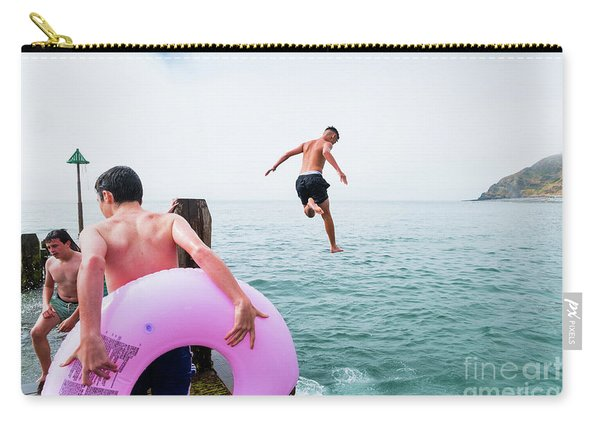 Boys Jumping Into The Sea Carry-all Pouch