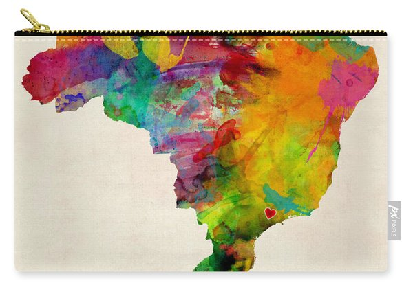 Brazil Watercolor Map Custom Heart Carry-all Pouch