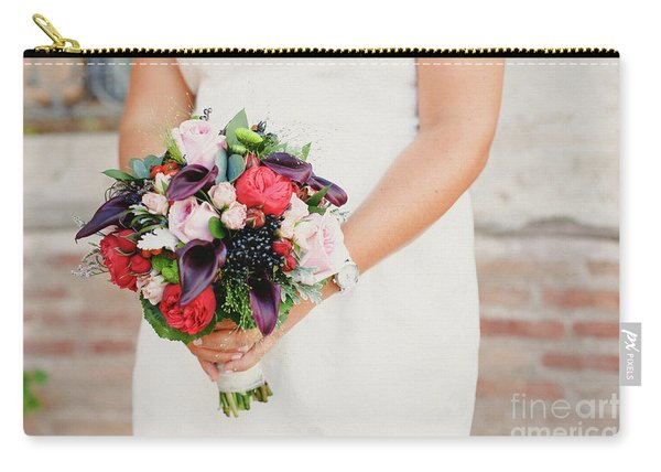 Bridal Bouquet Held By Her With Her Hands At Her Wedding Carry-all Pouch