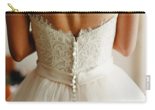 Bride Getting Ready, They Help Her By Buttoning The Buttons On The Back Of Her Dress. Carry-all Pouch