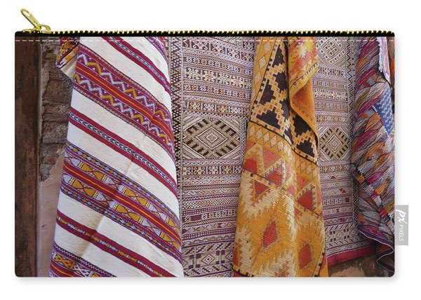 Bright Colored Patterns On Throw Rugs In The Medina Bazaar  Carry-all Pouch